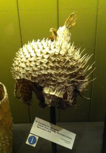 A porcupine fish skin helmet from Kiribati (Gilbert Islands).