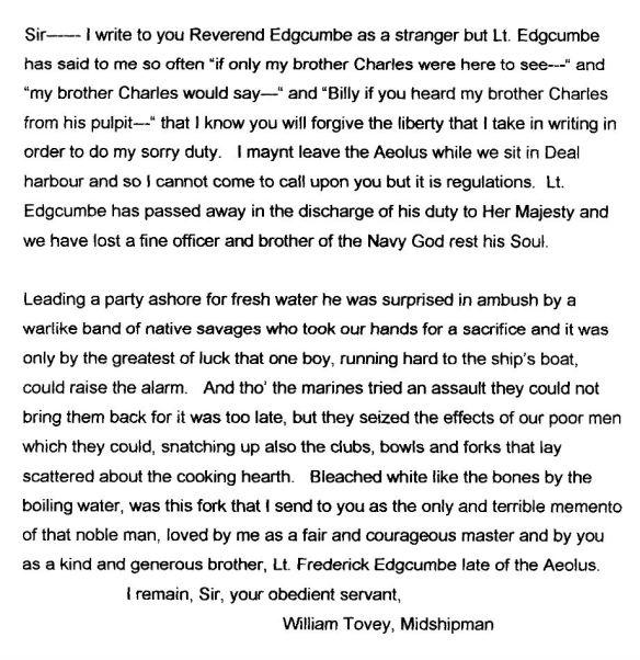 Tovey letter