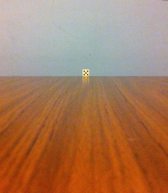 Put a die at the far end of a table to understand parallel lines of sight from your eyes.