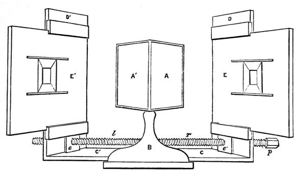 The diagram of his stereoscope from Wheatstone's paper published in the Transactions of the Royal Society, 1838 (image via wikimedia commons).