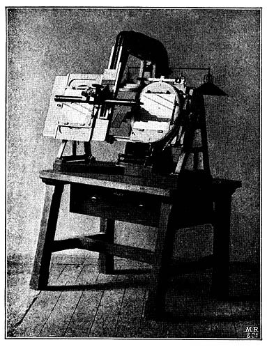 Pulfrich's stereo-comparator, 1904: the two photographs are placed on the plates, and viewed through the binoculars to reveal the 3D image in the mind of the viewer. The apparatus allows the viewer to measure dimensions across (X axis) and up-and-down (Y axis), but also height (Z axis).